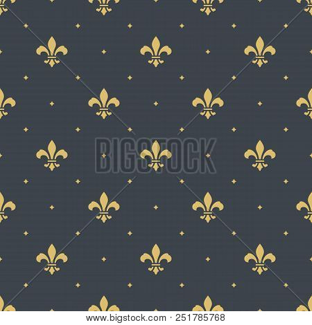 Fleur-de-lis Royal, Luxury Seamless Pattern Background. New Orlean Ornament With Diagonal Golden Her
