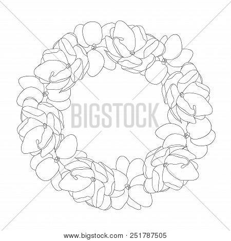 Jasminum Sambac - Arabian Jasmine Outline Wreath. Vector Illustration.