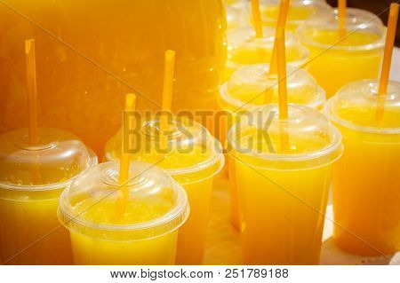 Glasses With Orange Juice. Fresh. Drinks At The Fair