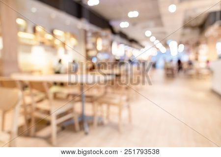 Abstract Blur And Defocused Breakfast Buffet At Hotel Restaurant Interior For Background With Wide A