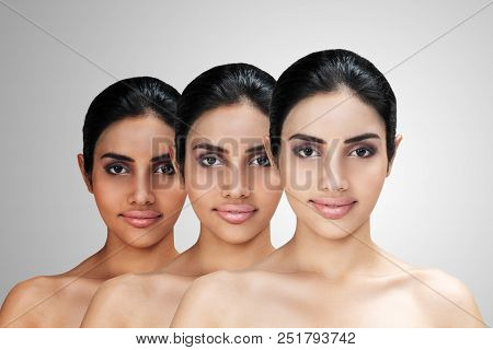 Young Asian Attractive Woman With Skin Brightening Or Facial Rejuvenation Concept. Face Whitening Af