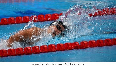 Budapest, Hungary - Jul 25, 2017. Competitive Swimmer Ledecky Katie (usa) In The 1500m Freestyle Fin
