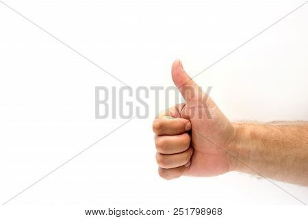 Man Hand Gesture Thumb Up Showing Good, Like, Ok, Agree, Success, Symbol Hand Gesture On White Backg