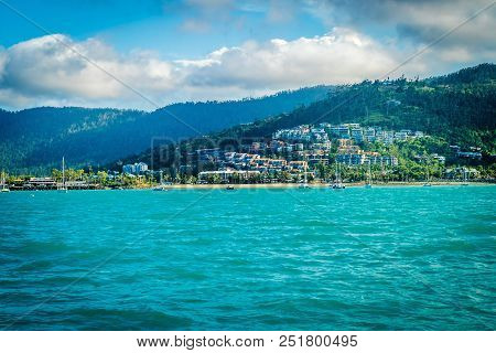Airlie Beach Seen From The Ocean In The Summer