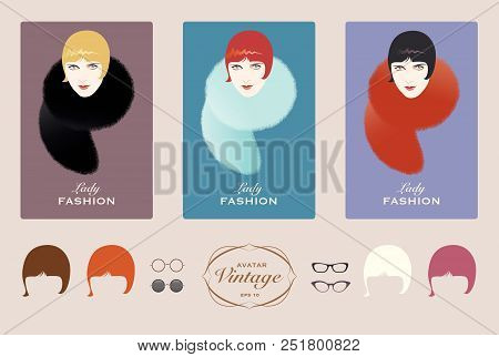 Three Elegant Women Vintage Style. From 1900 To The 20s And 30s
