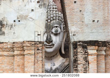 Big Buddha At Wat Si Chumit Sukhothai Thailand Big Buddha Width Of 11.30 Meters, 15 Meters High, Is