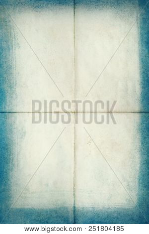 Blank Old Letter Folded In Four With Blue Edges, Texture Background