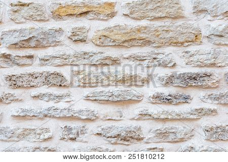 Close  Up Of Old Stone Wall Texture