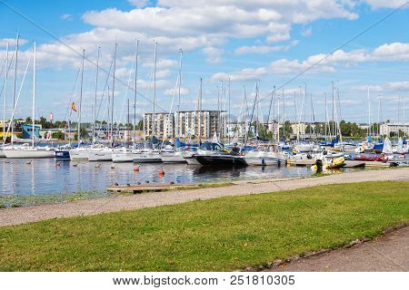 Parnu, Estonia - August 9, 2017: Yachts And Boats In The Yacht Club In Parnu