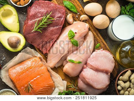 Protein Sources. Ketogenic Low Carbs Diet. Meat, Fish, Eggs, Cheese, Milk, Nuts Greens Oil Top View