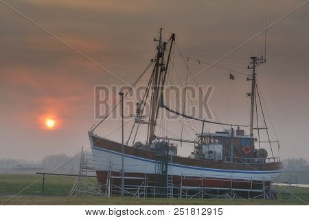 Morning In Harbor Of Greetsiel At North Sea In East Frisia,lower Saxony,germany