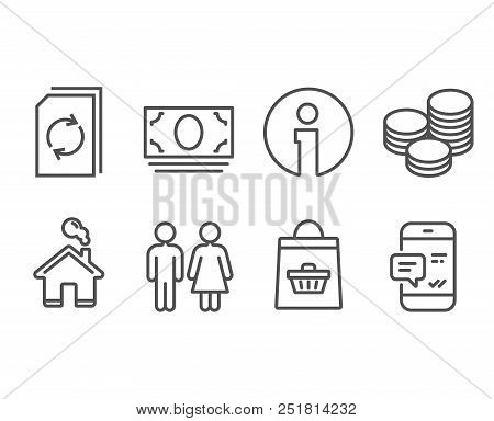 Set Of Update Document, Restroom And Online Buying Icons. Tips, Cash Money And Smartphone Notificati