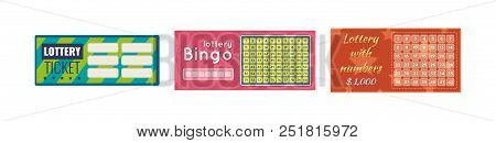Lottery Tickets, Bingo, Lotto, Raffle Of Money And Prizes. Tickets For Event Are Monetary, Financial