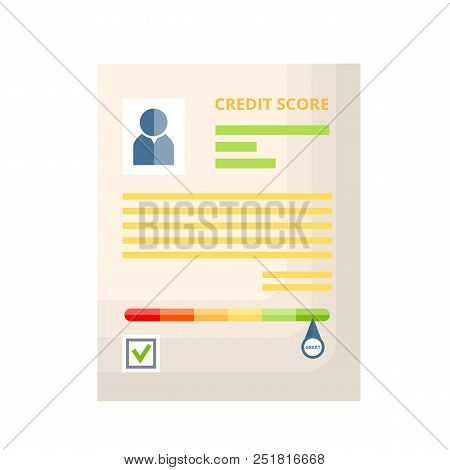 Credit Paper Document With Rating, History, Statistics And Indicators Of Creditworthiness And Solven