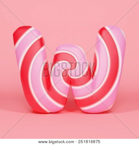 Alphabet letter W uppercase. Christmas font made of pink and red striped lollipop. 3D render on orange background. Tasty confection from delicious lollypop caramel. poster