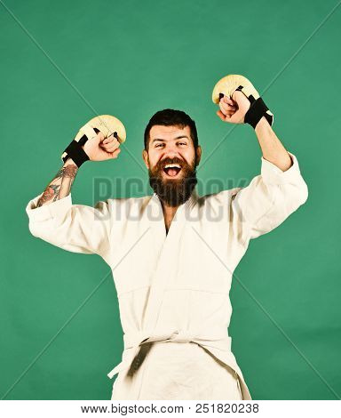 Mma Fighter Wins Martial Arts Competition. Sports And Combat Concept. Man With Excited Winning Face