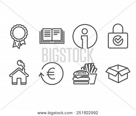 Set Of Education, Burger And Exchange Currency Icons. Password Encryption, Success And Opened Box Si