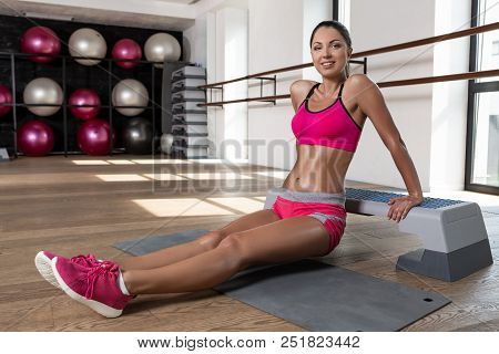 Fit Woman Exercising Workout Out Arms Exercise Training Triceps And Biceps Doing Push Ups. Program O