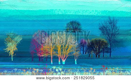 Abstract Colorful Oil Painting On Canvas Texture. Semi Abstract Image Of Landscape Paintings Backgro