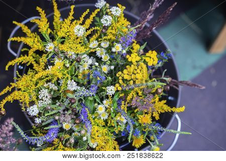 Wild Meadow Flowers Of Bright Colors On A Handmade Flower Fair. Bright Mix Bouquet Of Wild Meadow, F