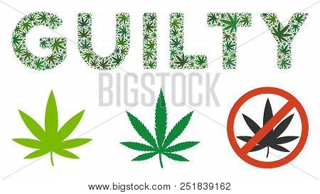 Guilty Caption Composition Of Hemp Leaves In Various Sizes And Green Shades. Vector Flat Ganja Leave