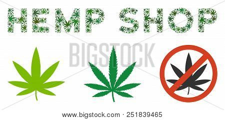 Hemp Shop Label Collage Of Hemp Leaves In Different Sizes And Green Hues. Vector Flat Weed Items Are