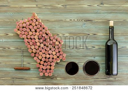 Napa Valley Wine Region Map With Bottle Of Red Wine And Two Full Glasses On A Rustic Wood Background