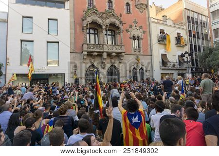 Granollers, Catalonia, Spain, October 3, 2017: Paceful People In Protest Against Spanish Police Inte