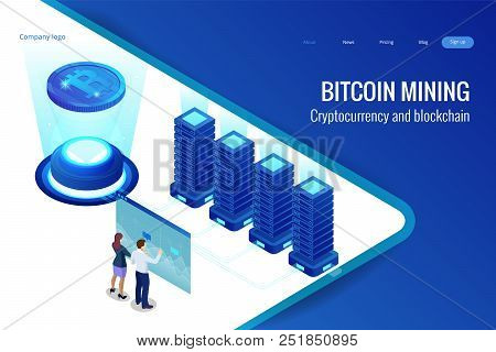 Isometric Bitcoin Mining Concept. Cryptocurrency And Blockchain Concept. Farm For Mining Bitcoins. D