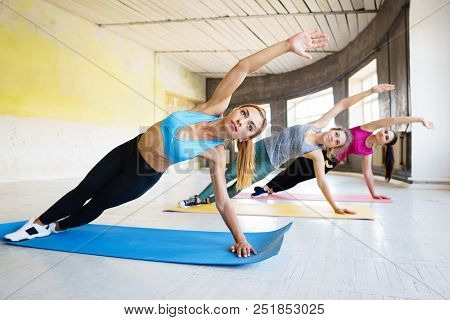 Group Workout For Women, Yoga, Pilates, Fitness, Friendship, Activity And Healthy Lifestyle. Young F
