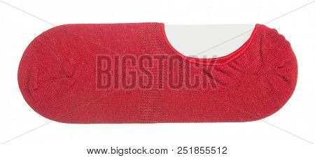 Red invisible shoe socks isolated on white background.