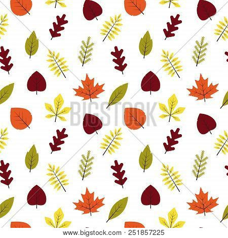 Seamless Pattern Autumn Different Leaves In Flat Style. Red, Green, Yellow, Orange Leaf On White Bac
