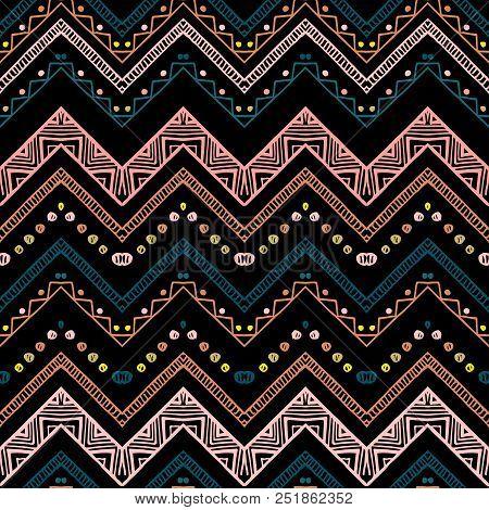 Seamless Ethnic Zigzag Chevron Pattern. Hand Drawn Colorful Geometric Background. Striped Tribal Mot