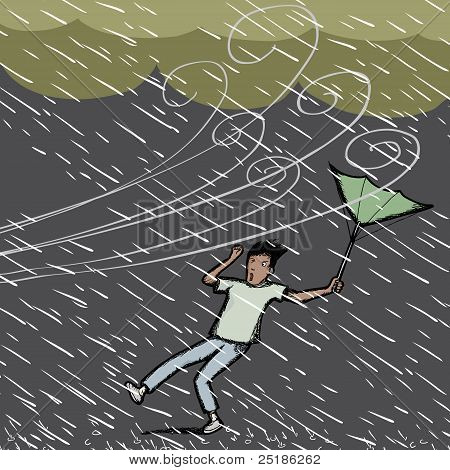 Young Hispanic man caught in a gust of wind and rain storm poster