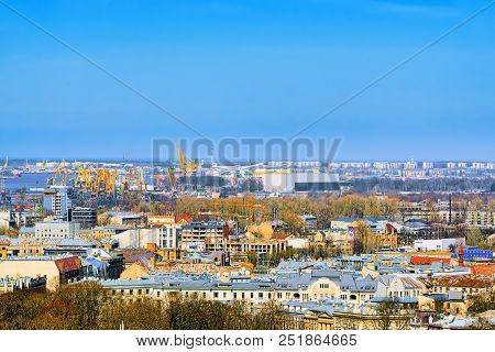 Panoramic View Of The City Of Riga, Latvia From The Height Of The Tower Church Of St. Peter