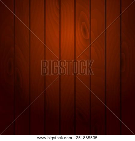 Cartoon Wooden Table Background. Planks. Vector Illustration. Texture Of A Tree. Red Brown Woody Sur