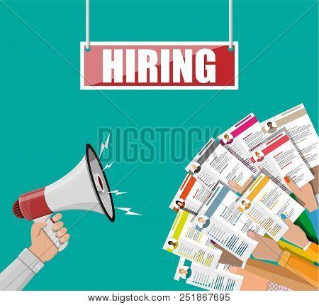 Hands Holding Cv Resume Documents. Loudspeaker Or Megaphone. Human Resources Management, Searching P