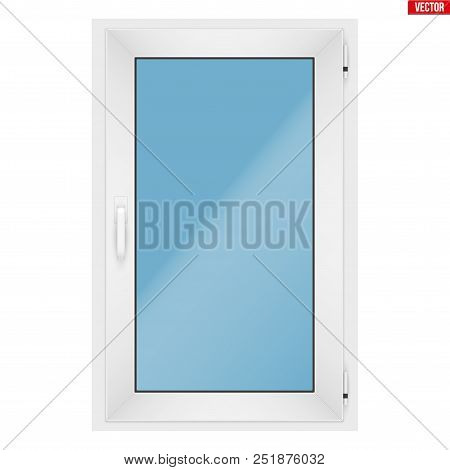 Metal Plastic Pvc Window With One Sash And One Opening Casement. Indoor View. Presentation Of Models