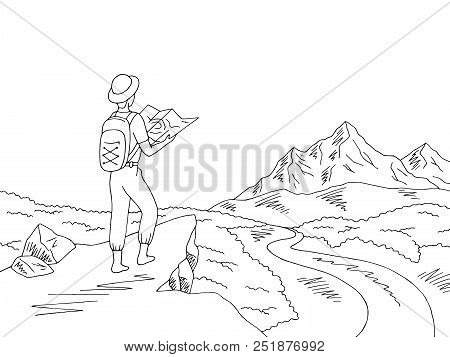 Traveler Looks At The Map. Mountain River Graphic Black White Landscape Sketch Illustration Vector