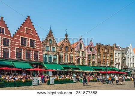 Bruges,belgium - May 20,2018 - At The Grote Markt In Bruges. The Historic City Centre Of Bruges Is A