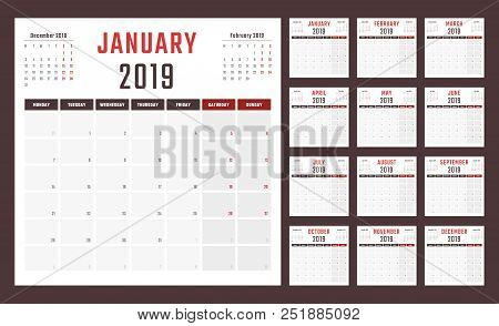 2019 Year Calendar, Calendar Design For 2019 Starts Monday