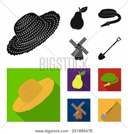 Straw Hat, Pear With Leaf, Watering Hose, Windmill. Farmer And Gardening Set Collection Icons In Bla