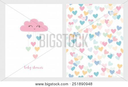 Set Of Two Cute Vector Illustrations. Pink Smiling Cloud With Dropping Hearts. Pink Baby Shower Text