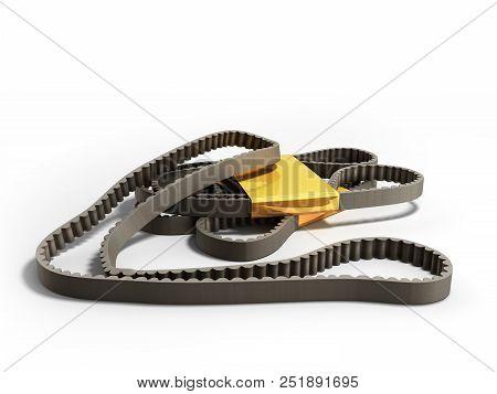 Repair Worck Concept Belt Car Engine Timing Belt 3d Render On White Background