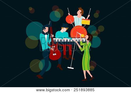 Series Of Music Concert Composition With Men And Women Singing And Playing Electric Guitar, Piano An