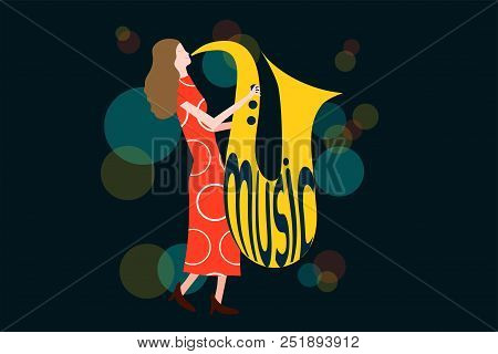 Series Of Music Concert Composition With Woman Playing Sax In Night Lights - Colorful Vector Illustr