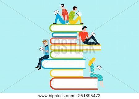 Happy People Reading On Tower Of Book - Vector Colorful Illustration Isolated On Background