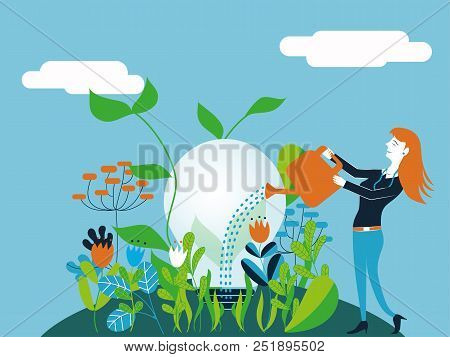 Business Man Watering A Light Bulb - Vector Illustration For Concept Of Taking Care And Make Growing