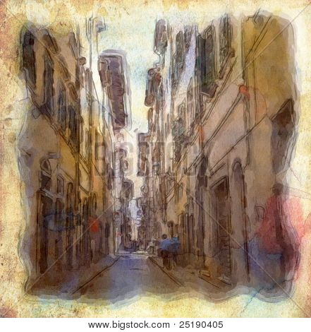 views of Florence made in artistic watercolor style.