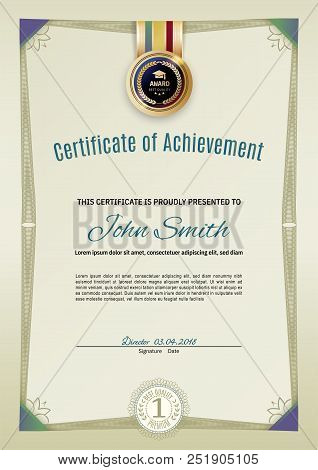 Official Light Green Certificate With Green Guilloche Border And Corners. Official Simple Blank.